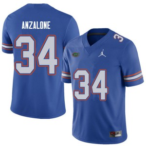 Jordan Brand Men #34 Alex Anzalone Florida Gators College Football Jerseys Royal 645855-188