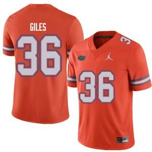 Jordan Brand Men #36 Eddie Giles Florida Gators College Football Jerseys Orange 888787-600