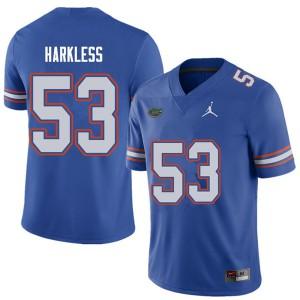 Jordan Brand Men #53 Kavaris Harkless Florida Gators College Football Jerseys Royal 662684-157