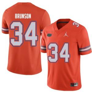 Jordan Brand Men #34 Lacedrick Brunson Florida Gators College Football Jerseys Orange 249469-217