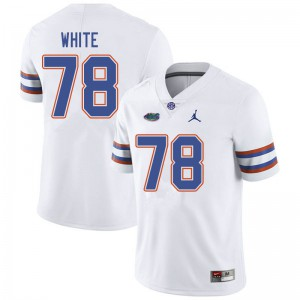 Jordan Brand Men #78 Ethan White Florida Gators College Football Jerseys White 360858-808