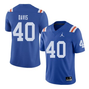 Jordan Brand Men #40 Jarrad Davis Florida Gators Throwback Alternate College Football Jerseys Royal 275312-987