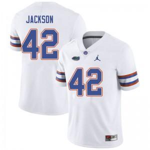 Jordan Brand Men #42 Jaylin Jackson Florida Gators College Football Jerseys White 465341-885