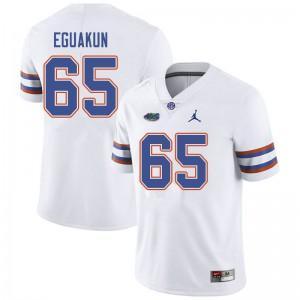 Jordan Brand Men #65 Kingsley Eguakun Florida Gators College Football Jerseys White 946173-244