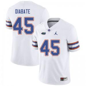 Jordan Brand Men #45 Mohamoud Diabate Florida Gators College Football Jerseys White 728016-482