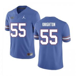 Men #55 Hayden Knighton Florida Gators College Football Jerseys Blue 396999-769