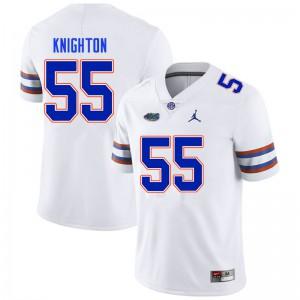Men #55 Hayden Knighton Florida Gators College Football Jerseys White 960632-325