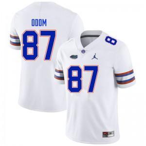 Men #87 Jonathan Odom Florida Gators College Football Jerseys White 468925-305