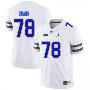 Men #78 Josh Braun Florida Gators College Football Jerseys White 555336-914