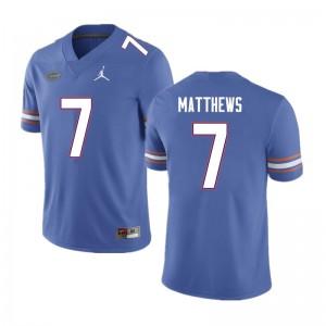 Men #7 Luke Matthews Florida Gators College Football Jerseys Blue 540052-679