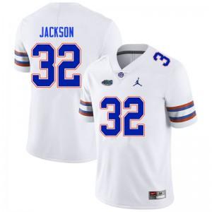Men #32 N'Jhari Jackson Florida Gators College Football Jerseys White 620716-722