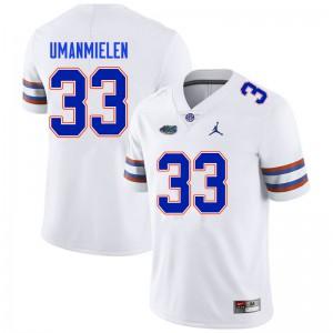 Men #33 Princely Umanmielen Florida Gators College Football Jerseys White 593271-429