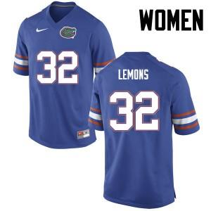 Women Florida Gators #32 Adarius Lemons College Football Blue 982997-438