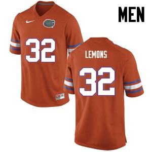 Men Florida Gators #32 Adarius Lemons College Football Orange 881619-568