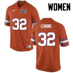 Women Florida Gators #32 Adarius Lemons College Football Orange 610226-682