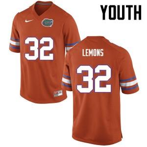 Youth Florida Gators #32 Adarius Lemons College Football Orange 546589-998