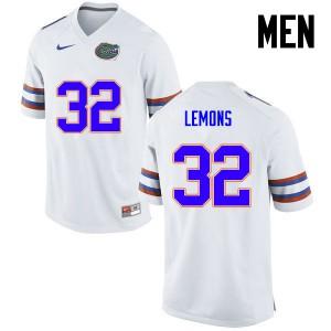 Men Florida Gators #32 Adarius Lemons College Football White 741808-302