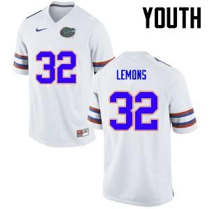 Youth Florida Gators #32 Adarius Lemons College Football White 626070-640