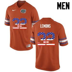 Men Florida Gators #32 Adarius Lemons College Football USA Flag Fashion Orange 136221-654