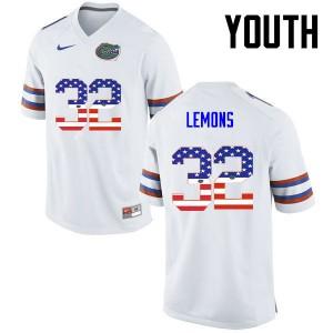 Youth Florida Gators #32 Adarius Lemons College Football USA Flag Fashion White 572549-362