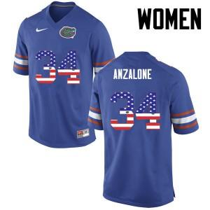 Women Florida Gators #34 Alex Anzalone College Football USA Flag Fashion Blue 844487-201