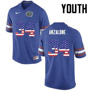 Youth Florida Gators #34 Alex Anzalone College Football USA Flag Fashion Blue 645311-406
