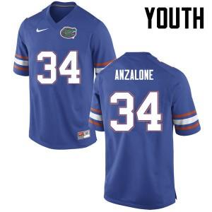 Youth Florida Gators #34 Alex Anzalone College Football Blue 333519-213