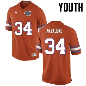 Youth Florida Gators #34 Alex Anzalone College Football Orange 142870-770