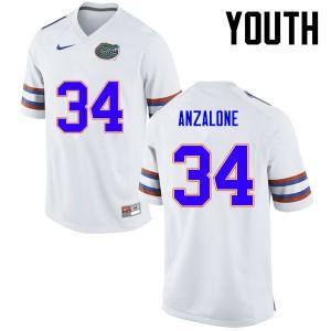 Youth Florida Gators #34 Alex Anzalone College Football White 777308-846