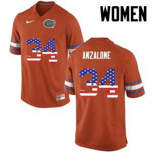 Women Florida Gators #34 Alex Anzalone College Football USA Flag Fashion Orange 466959-855