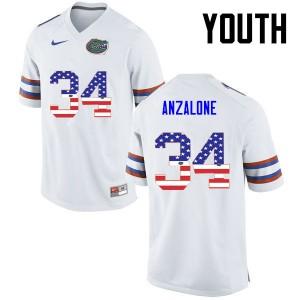 Youth Florida Gators #34 Alex Anzalone College Football USA Flag Fashion White 826039-138