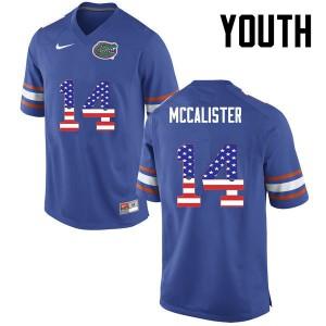 Youth Florida Gators #14 Alex McCalister College Football USA Flag Fashion Blue 774415-593