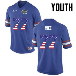 Youth Florida Gators #77 Andrew Mike College Football USA Flag Fashion Blue 973829-979