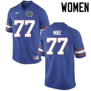Women Florida Gators #77 Andrew Mike College Football Jerseys Blue 328801-871