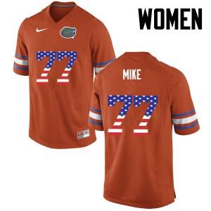 Women Florida Gators #77 Andrew Mike College Football USA Flag Fashion Orange 325079-962