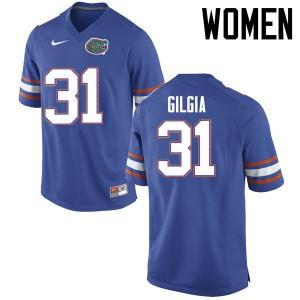 Women Florida Gators #31 Anthony Gigla College Football Jerseys Blue 419067-946