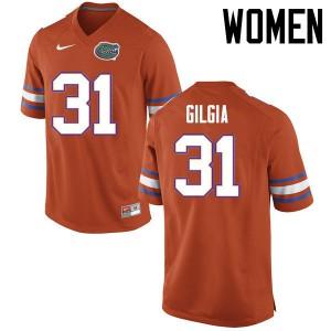 Women Florida Gators #31 Anthony Gigla College Football Jerseys Orange 337661-349