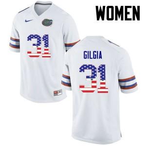 Women Florida Gators #31 Anthony Gigla College Football USA Flag Fashion White 597469-599