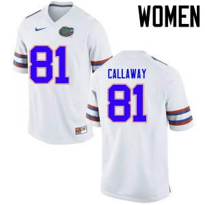 Women Florida Gators #81 Antonio Callaway College Football Jerseys White 693060-590