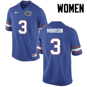 Women Florida Gators #3 Antonio Morrison College Football Blue 210168-536