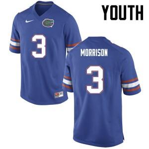 Youth Florida Gators #3 Antonio Morrison College Football Blue 488755-894