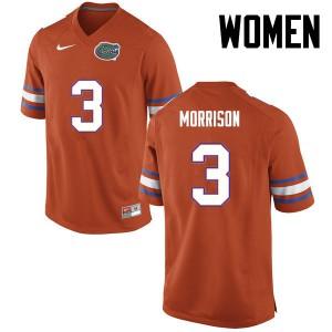 Women Florida Gators #3 Antonio Morrison College Football Orange 279405-414
