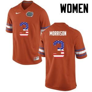 Women Florida Gators #3 Antonio Morrison College Football USA Flag Fashion Orange 979036-623