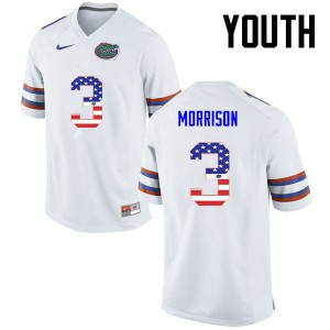 Youth Florida Gators #3 Antonio Morrison College Football USA Flag Fashion White 559298-792