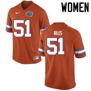 Women Florida Gators #51 Antonio Riles College Football Jerseys Orange 532700-826