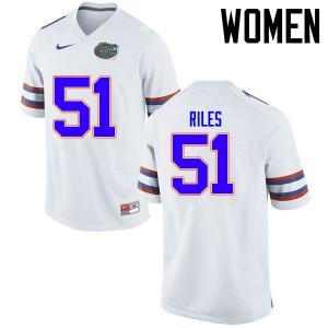 Women Florida Gators #51 Antonio Riles College Football Jerseys White 248371-518