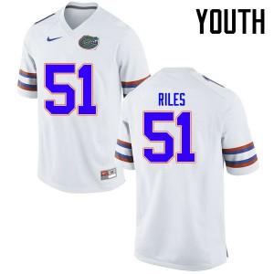 Youth Florida Gators #51 Antonio Riles College Football Jerseys White 132100-771