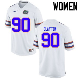 Women Florida Gators #90 Antonneous Clayton College Football Jerseys White 910128-603