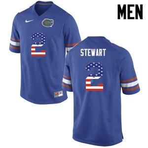 Men Florida Gators #2 Brad Stewart College Football USA Flag Fashion Blue 456243-587