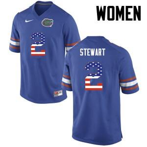 Women Florida Gators #2 Brad Stewart College Football USA Flag Fashion Blue 196431-260